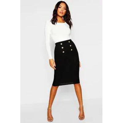 Boohoo レディーススカート Boohoo Button Front Ribbed Midi Skirt black