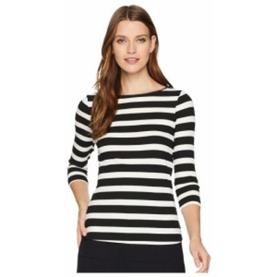 Three Dots スリードッツ 服 一般 Alpine Stripe 3/4 Sleeve Top w/ Shell Stitch