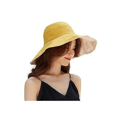 KOOPUS 帽子 UVカット レディース ハット つば広【折りたたみ 両面用 紫外線対策】ワイヤ加え 日除け 帽子 2way 取り外すあご紐 サイズ