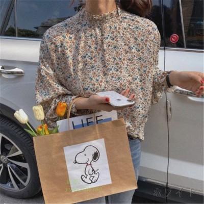 花柄 レトロ 韓国 オルチャン 30代 大人 レディース ストリート かわいい 原宿 ファッション 長袖 ブラウス 40代