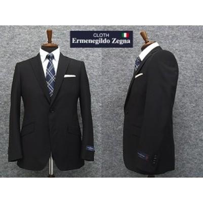 春夏物 黒無地 [Ermenegildo Zegna] ゼニア TROPICAL使用 スタイリッシュ2釦スーツ [A体][AB体] EZS66 ロゴ入り裏地