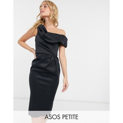 エイソス ミディドレス レディース ASOS DESIGN Petite drape fallen shoulder midi pencil dress in black エイソス ASOS ブラック 黒