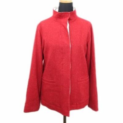 【中古】アイアイエムケー ミッシェルクラン iiMK スタンドカラー ジャケット ブルゾン ウール混 ショート 38 赤