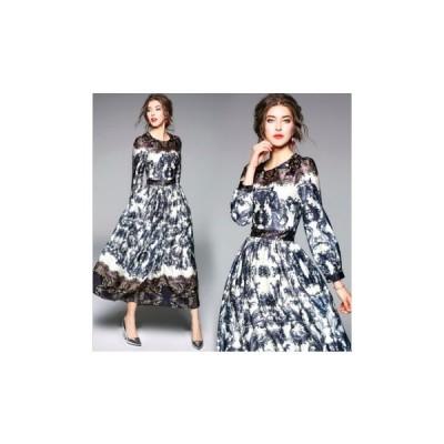 パーティードレス ロング丈 スカート 総柄  かわいい レディース ワンピース 結婚式 二次会 お呼ばれドレス kh-0233