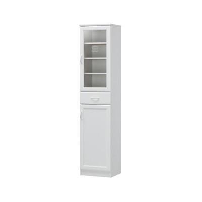 キッチンボード 食器棚 スリム カップボード 棚付き 開き戸 北欧 かわいい キッチン キャビネット 収納 ガラス 戸棚 キッチンキャビネット 送料無料 CEC-1840DGH