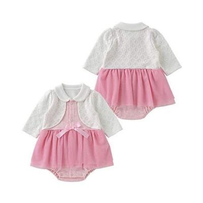 (チャックルベビー) chuckle ティノティノ ワンピース風長袖スカート付きロンパース 80cm ピンク P2007-80-20