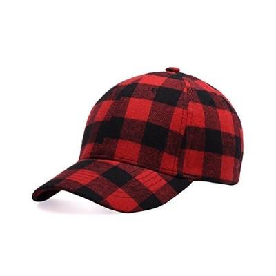 格子縞プリント 野球帽 ソフトコットンブレンド チェック柄 アウトドアハット キャップ US サイズ: One Size