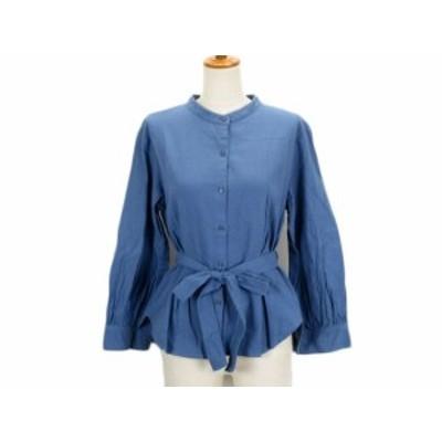 【中古】サマンサモスモス SM2 blue シャツ ノーカラー タック リボン ベルト L 青 ブルー レディース