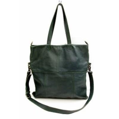 【中古】TOHPO トーポ ショルダーバッグ 肩掛け トートバッグ かばん 鞄 3way グリーン 緑 レディース