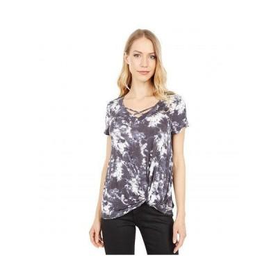 Bobeau レディース 女性用 ファッション Tシャツ Short Sleeve Twist Front V-Neck Tee - Black Tie-Dye