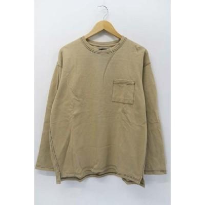 【中古】テス TESS 定番 カラーステッチ 長袖 Tシャツ ビッグシルエット 胸ポケット ベージュ L メンズ 【ベクトル 古着】