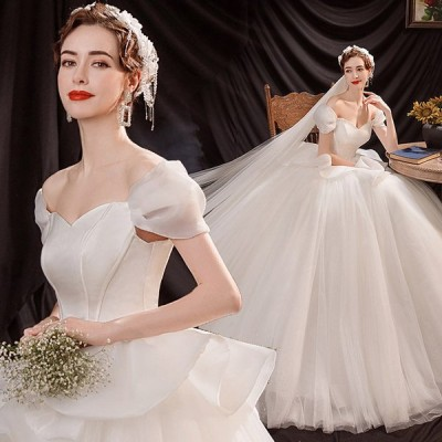 ウエディングドレス パーティードレス イブニングドレス aライン 白 袖あり レース 花嫁 結婚式 二次会 ブライダル ロングドレス 披露宴 旅行 編み上げ おすすめ