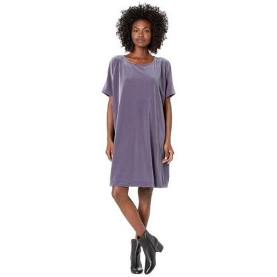 エイリーンフィッシャー レディース ワンピース トップス Recycled Polyester Stretch Velvet Round Neck Knee Length Dress
