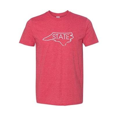 North Carolina State Outline Men's Super Soft Vintage T-Shirt (Heathered Red, XX-Large)