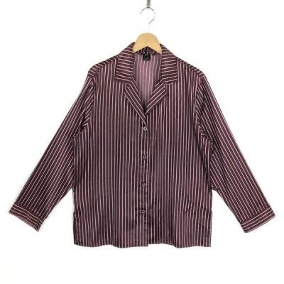 古着 TCM パジャマシャツ ストライプ柄 長袖 ワイン系 レディースXL 中古 n025711