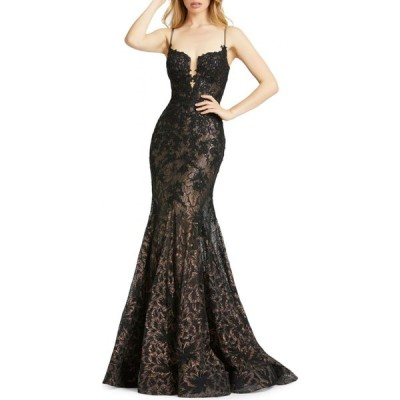 マックドゥガル Mac Duggal レディース パーティードレス ワンピース・ドレス floral lace trumpet gown ブラック