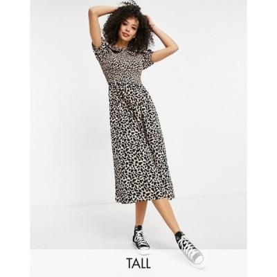 ニュールック レディース ワンピース トップス New Look Tall collar detail smock midi dress in animal print