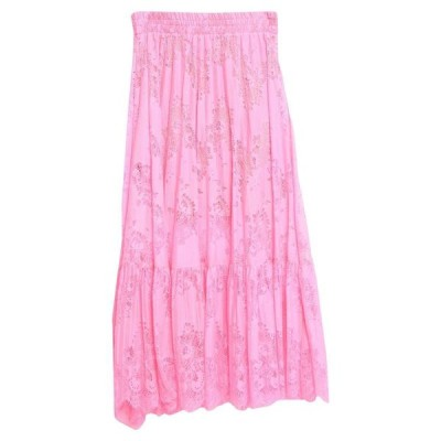SOALLURE 七分丈スカート  レディースファッション  ボトムス  スカート  ロング、マキシ丈スカート フューシャ
