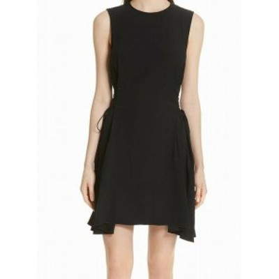 Theory セオリー ファッション ドレス Theory NEW Black Womens Size 10 Side Lace-Up Solid Sheath Dress