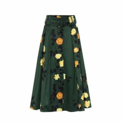 エムエスジーエム MSGM レディース ひざ丈スカート スカート Floral cotton midi skirt Military