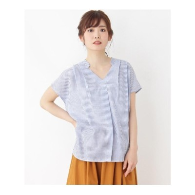 グローブ grove 【WEB限定サイズあり】リネン調スキッパーシャツ (サックス)