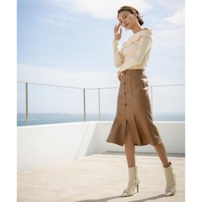 スカート フロントボタンレザーセミフレアスカート