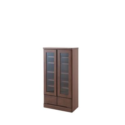 パイン材のガラス扉本棚