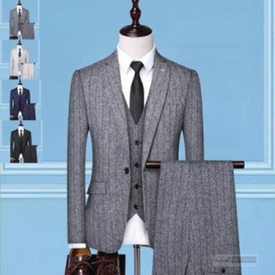スーツ メンズ 3ピーススーツ セットアップ テーラード フォーマル 細身 一つボタン ストライプ 通勤 ビジネス 紳士服 通勤 結婚式