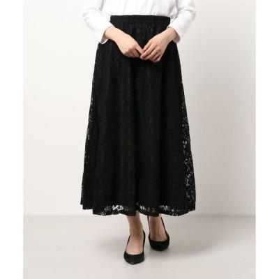 スカート 花柄レースロングスカート