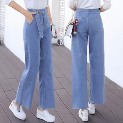 デニム パンツ ズボン ダメージジーンズ レディース ジーパン 九分丈 大きいサイズ ロングパンツ