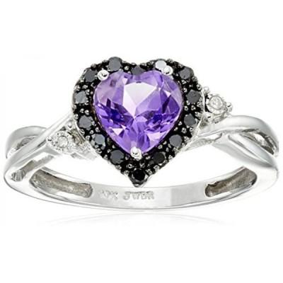 アマゾン・コレクション 指輪 レディース用 10K White Gold Amethyst Heart with Black and White Diamond Accent Ring, Size 9