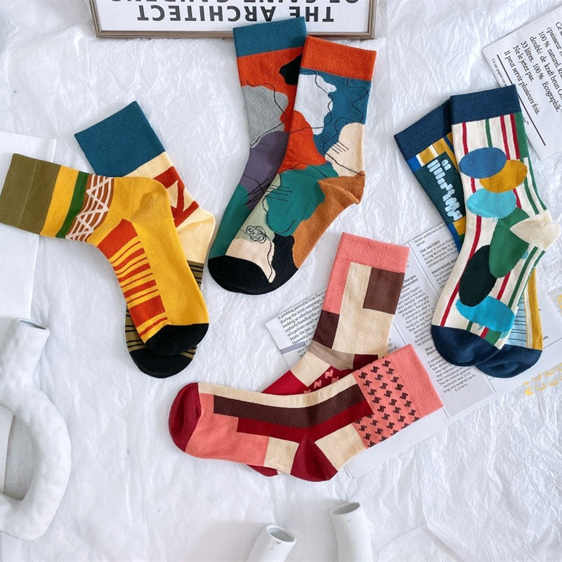 柳惠珠襪子 韓版不規則幾何圖案提花中筒襪 AB陰陽襪潮流滑板棉襪