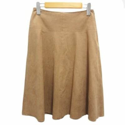【中古】ナチュラルビューティーベーシック NATURAL BEAUTY BASIC スカート スウェード フレア 膝丈 S ベージュ レディース