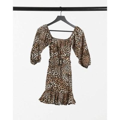 アイソウイットファースト I Saw It First レディース ワンピース ミニ丈 ワンピース・ドレス Print Bardot Belted Frill Mini Dress In Leopard レオパード