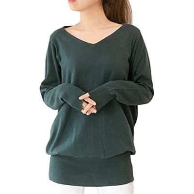 ドルマン Vネック 綿100% ニット トップス ゆったり チュニック セーター(ダークグリーン, 01.M-L)