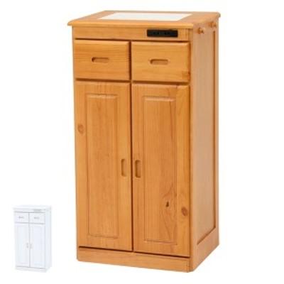 キッチンカウンター ハイタイプ 天然木 タイル天板 キャスター付 幅47cm ( 送料無料 カウンター キッチン タイル キャスター 天然 収納