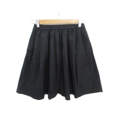 【中古】アーバンリサーチ URBAN RESEARCH スカート フレア ギャザー ひざ丈 F 黒 ブラック /FF36 レディース 【ベクトル 古着】
