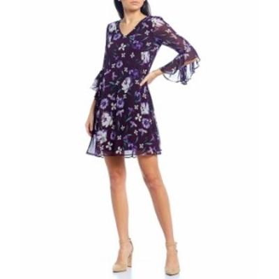 カルバンクライン レディース ワンピース トップス V-Neck 3/4 Flutter Sleeve Floral Trapeze Dress Aubergine Multi
