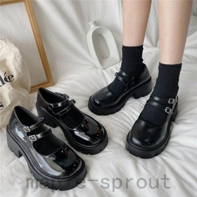 レディース革靴ローファーパンプス太めヒールカジュアル厚底中ヒールヴィンテージ女子靴