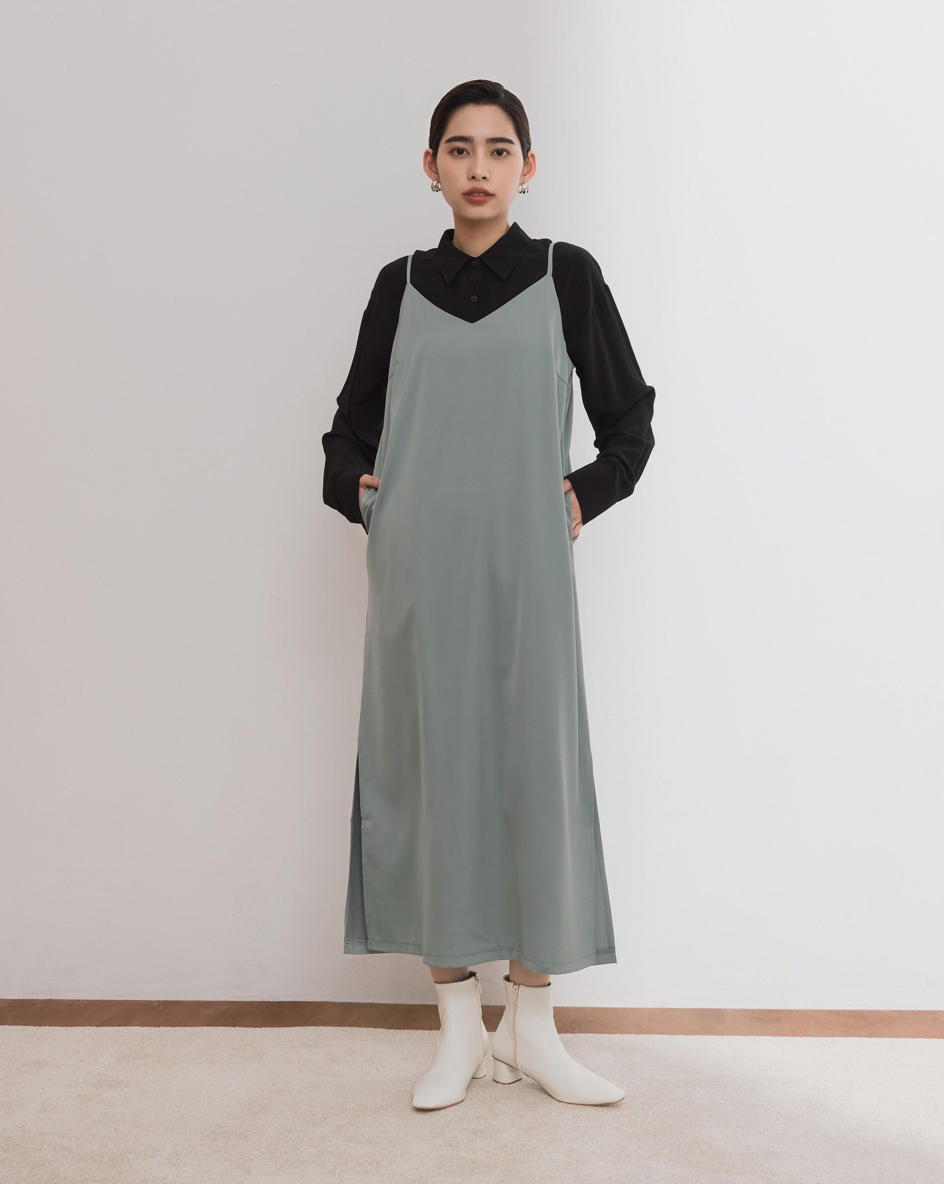 極簡絲滑細肩帶長洋裝-Meierq