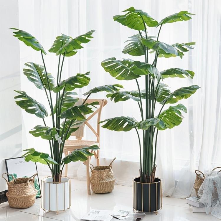 仿真樹 仿真龜背竹植物盆栽落地龜背葉盆景室內裝飾假樹北歐綠植組合擺件 MKS 芭蕾朵朵