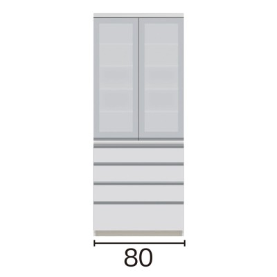 サイズが豊富な高機能シリーズ 食器棚引き出し 幅80奥行45高さ198cm/パモウナ VZ-S800K ホワイト