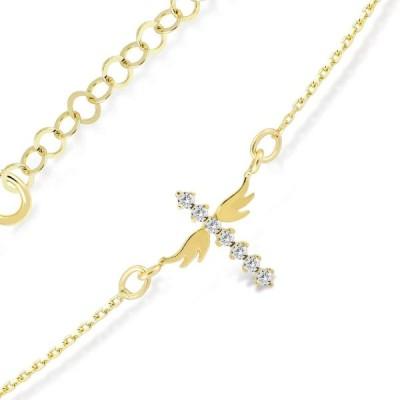 GELIN 14K Gold Wing Cross Link Chain Bracelet for Women