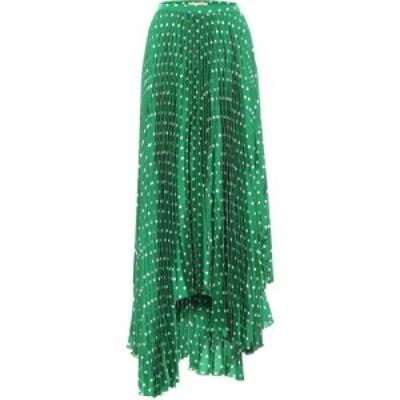プラン C Plan C レディース ひざ丈スカート スカート Polka-Dot Pleated Satin Midi Skirt White Polka Dot Green Base