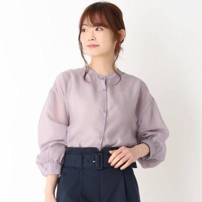 ピンクアドベ pink adobe 【M-LL】シアーバンドカラーシャツ (ライトパープル)