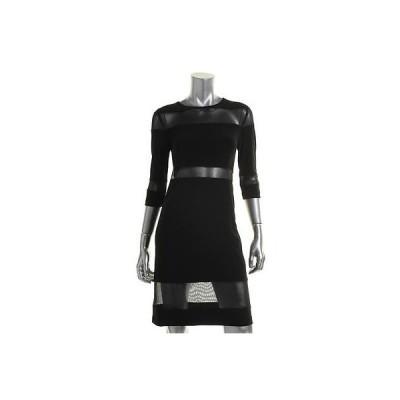 マカリクチュール ドレス ワンピース KamaliKulture 6995 レディース ブラック Matte Jersey mesh Inset Cocktail ドレス L BHFO