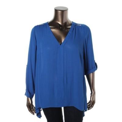 トップス&ブラウス NY Collection NY コレクション 7287 レディース Hi-Low Vネック Blouse Shirt Plus BHFO