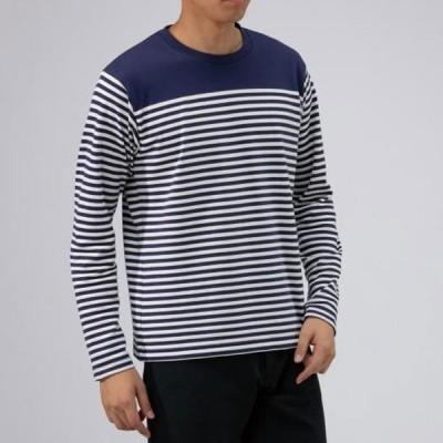 ブレスサーモパネルボーダークルーネックシャツ メンズ MIZUNO ミズノ アウトドア トラベル シャツ (B2JA9601)