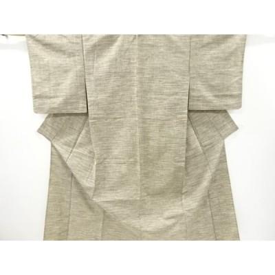 リサイクル 乱れ格子模様織り出し手織り紬単衣着物