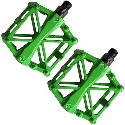 ペダル 自転車 バイク アルミ合金ペダル マウンテンバイク ロードバイク用 2個セット 滑り止め 軽量 耐久性 OD06(ライトグリーン)